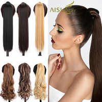 AISI BEAUTY Long Straight Hair Extension Synthetic Ponytail Hair Extensions with Black Blonde Brown Colors For Women