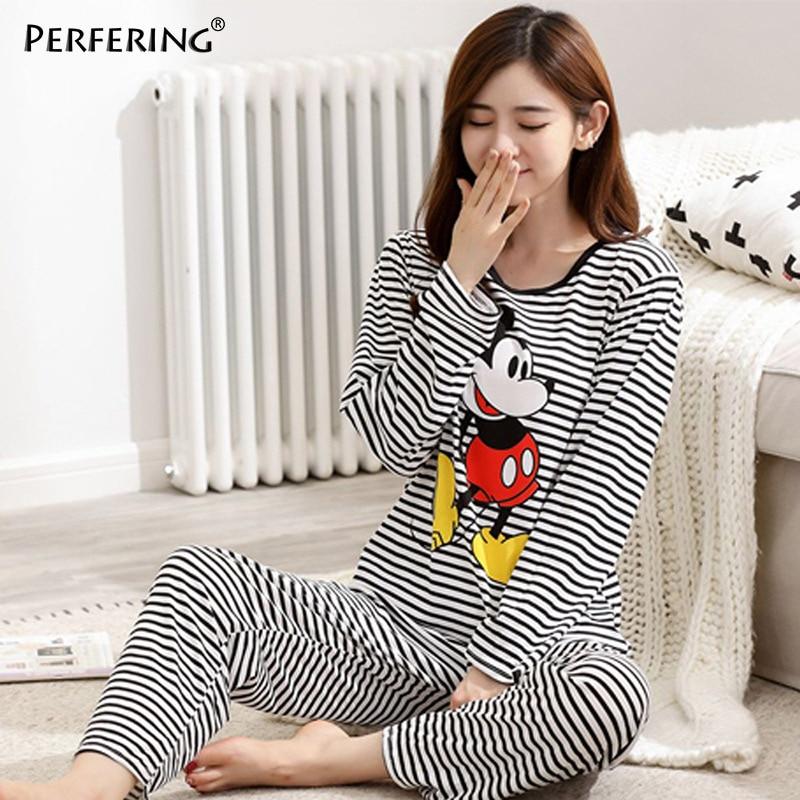 Perfering Pink   Pajamas     Set   Women Autumn New Homewear Cotton Cartoon Shirt + Long Pant 2 Piece Cute Sleepwear Pyjama Female Lady