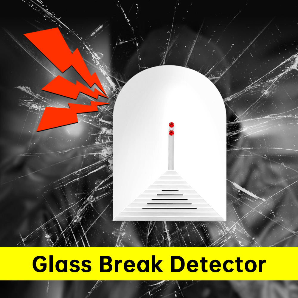 KERUI 1PCS 433Mhz Wireless Glass Break Detector Vibration Sensor Burglar Alarm System For Office/Store/House Door Window Glass