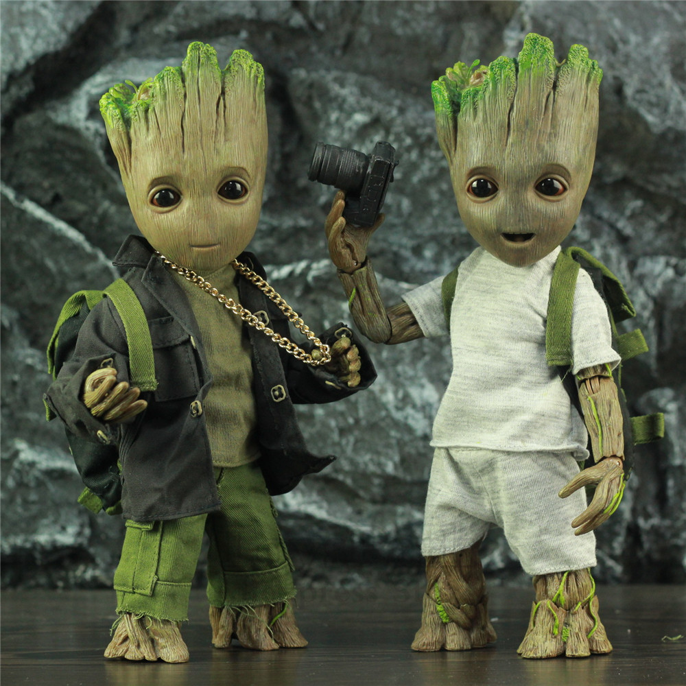 Life Size 1:1 Marvel Tree Man 25CM Action Figure Guardians Of The Galaxy Avengers Cute Baby Young BJD KO's HT Hot Toys Legends