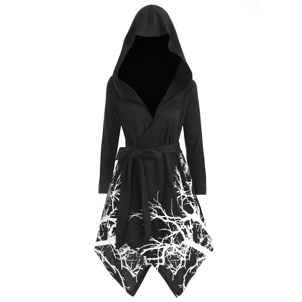 women jacket fashion пуховик женский куртка женская Women's Plus Size Novelty Tree Print Hooded Cape Irregular Long Belt Coat