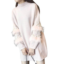 NORMOV Fashion Women Autumn Winter Knitted Pullovers Sweater Long Sleeve Wool Stitching Faux Rabbits Fur Beaded Sweater Dress