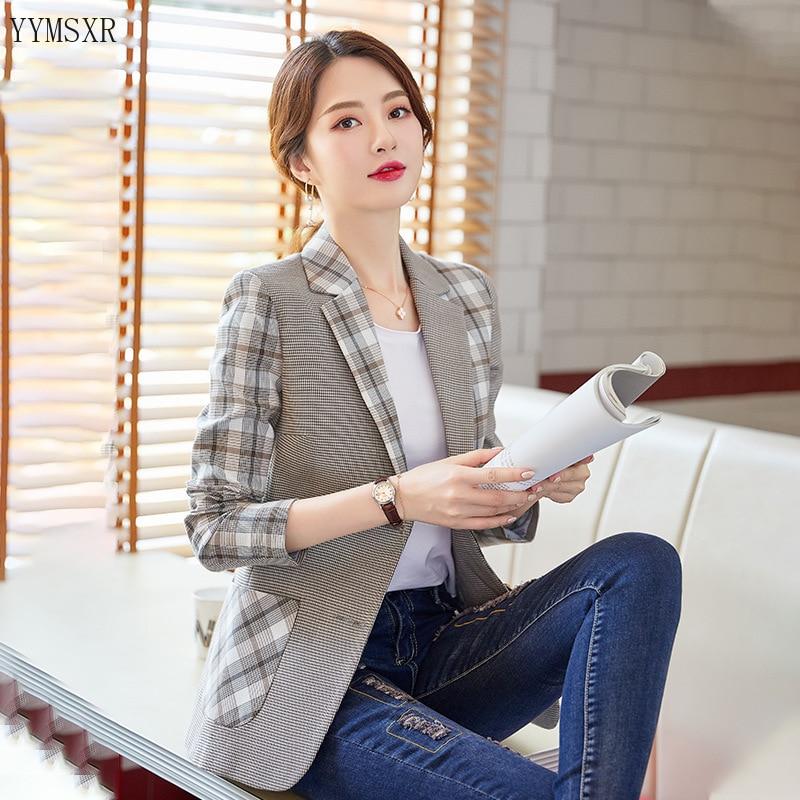 Women's professional suit feminine 2020 Korean version of the new slim-fit check stitching women blazer High quality jacket coat