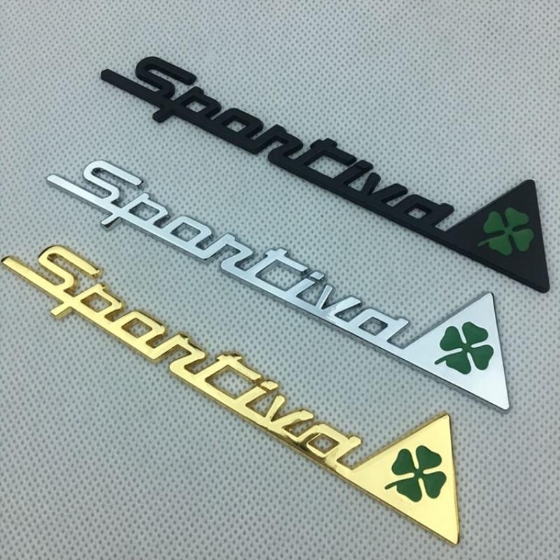 Insigne de jour trèfle vert pour Alfa Romeo trèfle à quatre feuilles Chrom métal voiture style emblème autocollant amour symbole chanceux