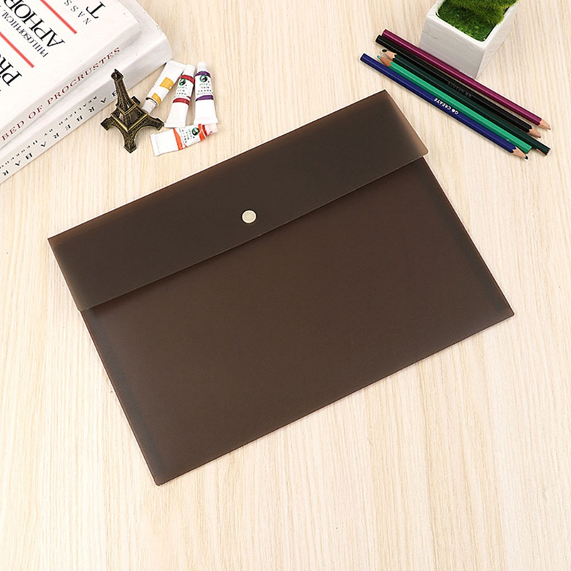 A4 Frosted Plastic File Bag With Snap Button Closure Official Document Pack Paper Document File Folder Organizer Bag