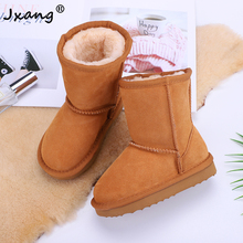 JXNAG 2020 fashion classic children's leather short ankle suede snow boots children's winter warm snow boots children's boots
