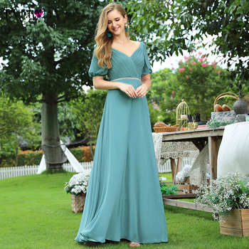 Elegant Bridesmaid Dresses Ever Pretty A-Line Double V-Neck Short Sleeve Pleated Chiffon Wedding Party Gowns Vestidos De Mujer pink bridesmaid dresses plus size ever pretty elegant a line v neck short sleeve chiffon long wedding party dress women vestidos