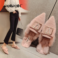 Buckle Mules Shoes Women Flat Furry Loafer Pointed Toe Fur Slides Ladies Fashion Warm Home Slippers Slip On Designer Shoe Female