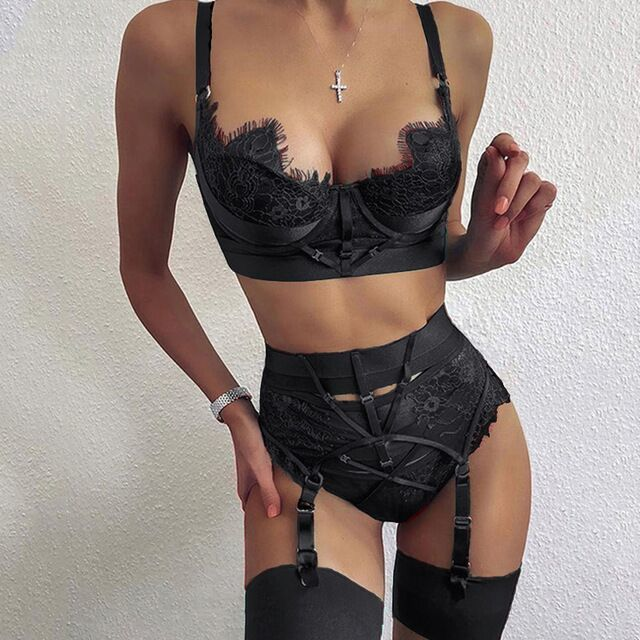 2021 New Women Lace Crossover Bikini Bra Set Crop Top + High Waist Shorts Hollow Out Sexy Underwear