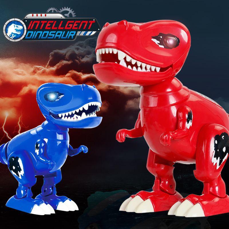 Cartoon Electric Dinosaur Will Walk Tail Swing Model Voice Electric Tyrannosaurus Stall Toy Tt6017a
