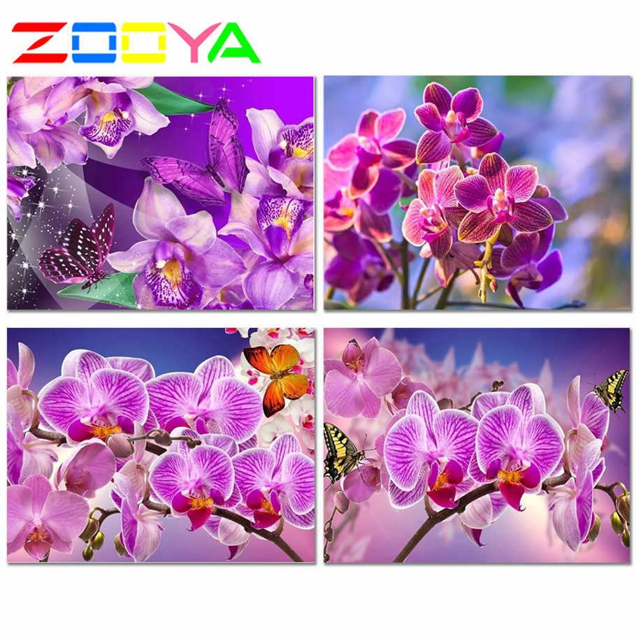 5D Diy elmas boyama güve orkide çiçek resim tam elmas nakış tam dairesel sondaj çapraz dikiş ev dekor Jh008
