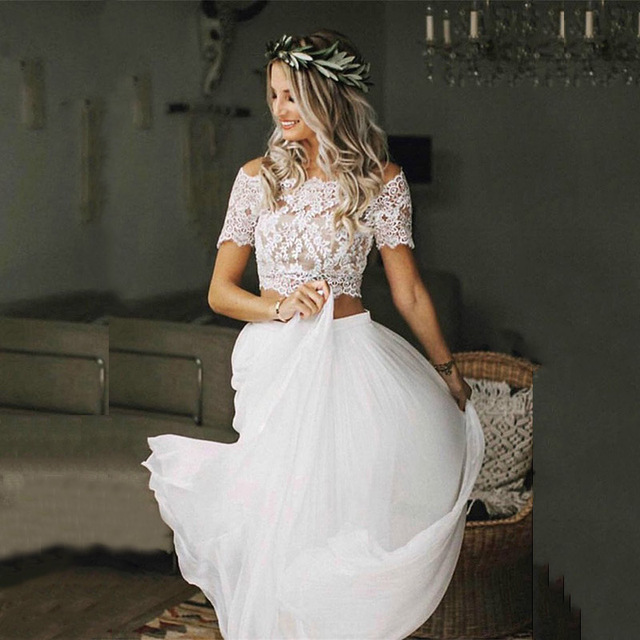 Hot Sale Charming Boho Two Pieces Bridal Wedding Gowns Lace Top Short Sleeves Bateau Neckline Wedding Dresses for Bride 2021 1