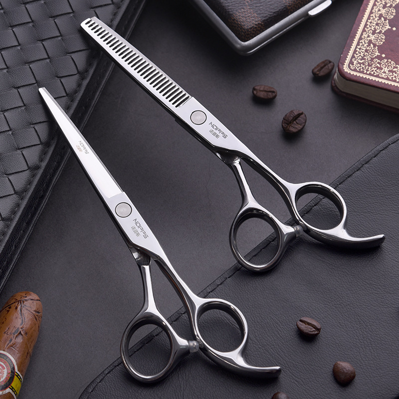 6-Inch Black And White With Pattern Silver Hair Stylist Profession Hairdressing Scissors Straight Snips Thinning Scissors Thinni