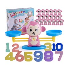 цены Monkey Digital Balance Scale Toy Math Match Game Board Toy Early Learning Balance Game Children Addition Subtraction Math Toys