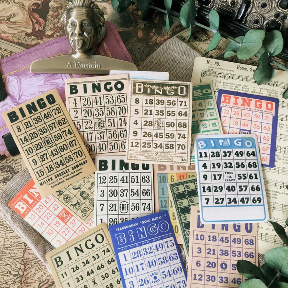 15Pcs/Bag Vintage European BIngo Card Sticker DIY Craft Scrapbooking Album Junk Journal Planner Decorative Stickers