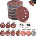 Круглые шлифовальные диски 100 мм, 50 шт./125 шт., наждачная бумага, диск с восемью отверстиями, шлифовальные листы, зернистость 80-3000, шлифовальны...