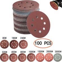 50 pces/100 pces discos redondos da lixa da forma de 125mm folhas de areia do disco do furo oito grit 80-3000 gancho e laço que lixa o disco polis