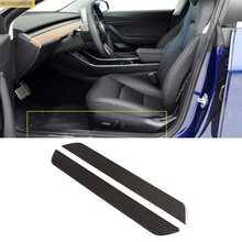 все цены на Car-styling carbon fiber Front Door Sills Scuff Plate car Accessories fit for tesla model 3 2018 2019 auto 2 pieces/set онлайн