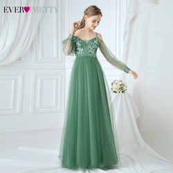 Elegant Green Prom Dresses Ever Pretty EP00746GB Sequined Appliques V-Neck Spaghetti Straps Tulle Party Gowns Vestidos Elegantes