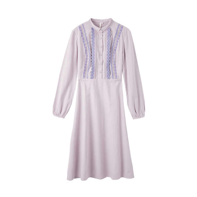 をインマン 2019 秋冬新到着エレガントなリトルターンダウン襟コントラスト刺繍定義ウエスト A ライン紫色の女性
