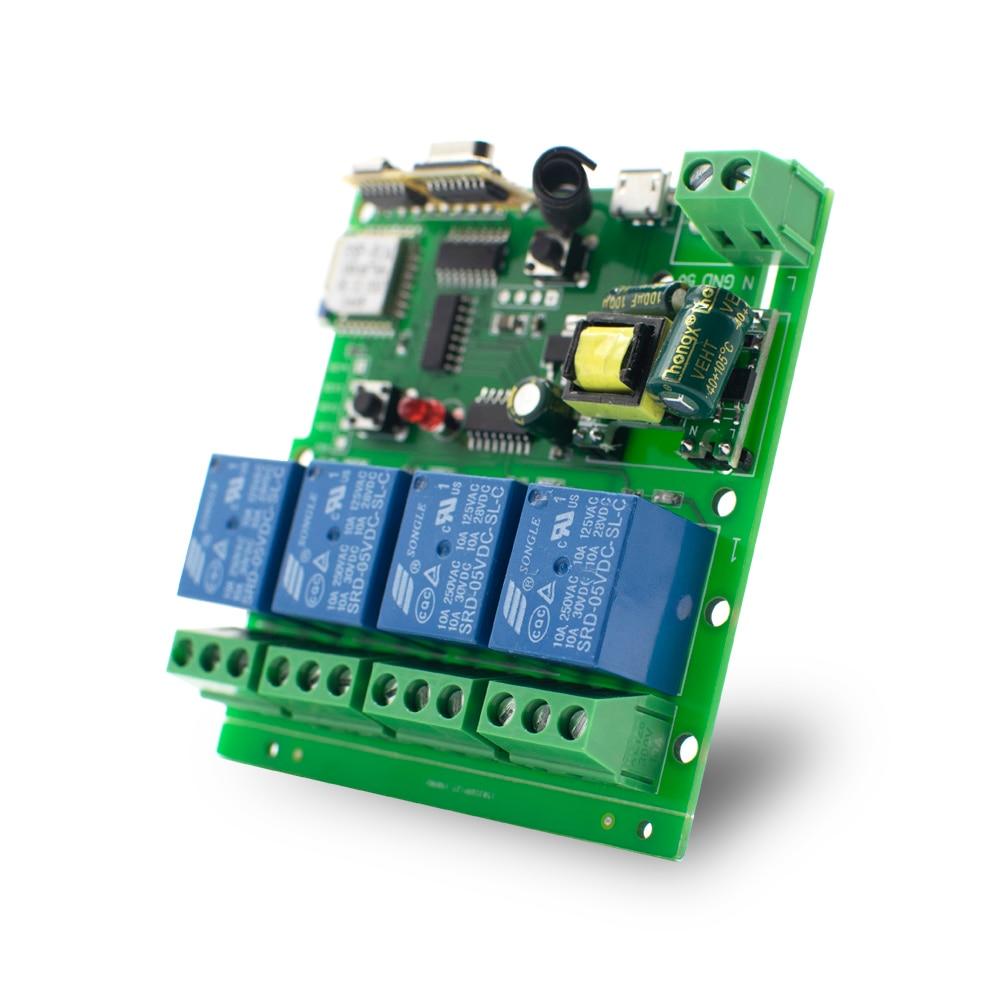 Реле eWeLink для Alexa IFTTT, умный беспроводной модуль дистанционного управления Wi-Fi, 4 канала, постоянный ток 7-32 В, 5 В, 32 В, радиочастотный приемник, ...
