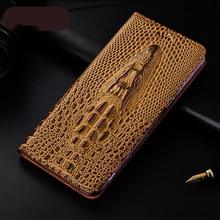 תנין ראש מרקם אמיתי עור מקרה עבור Samsung Galaxy A10S A20S A21S A30S A40S A50S A70S A10E A20E Flip כיסוי טלפון תיק