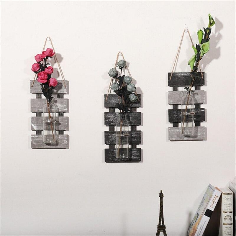 Деревенская декоративная настенная ваза, подвесная настенная Цветочная деревянная стеклянная ваза на весну, лето, осень, зиму, вазы для пом
