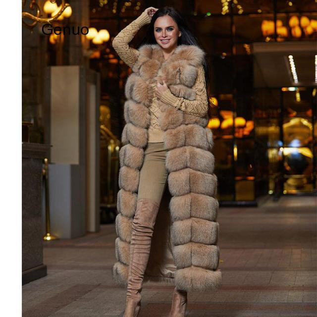 10-section Luxury Faux Fox Fur Winter Vest Jacket Sleeveless Thick Warm Horizontal Striped Long Style Fluffy Fake Fur Overcoat 2