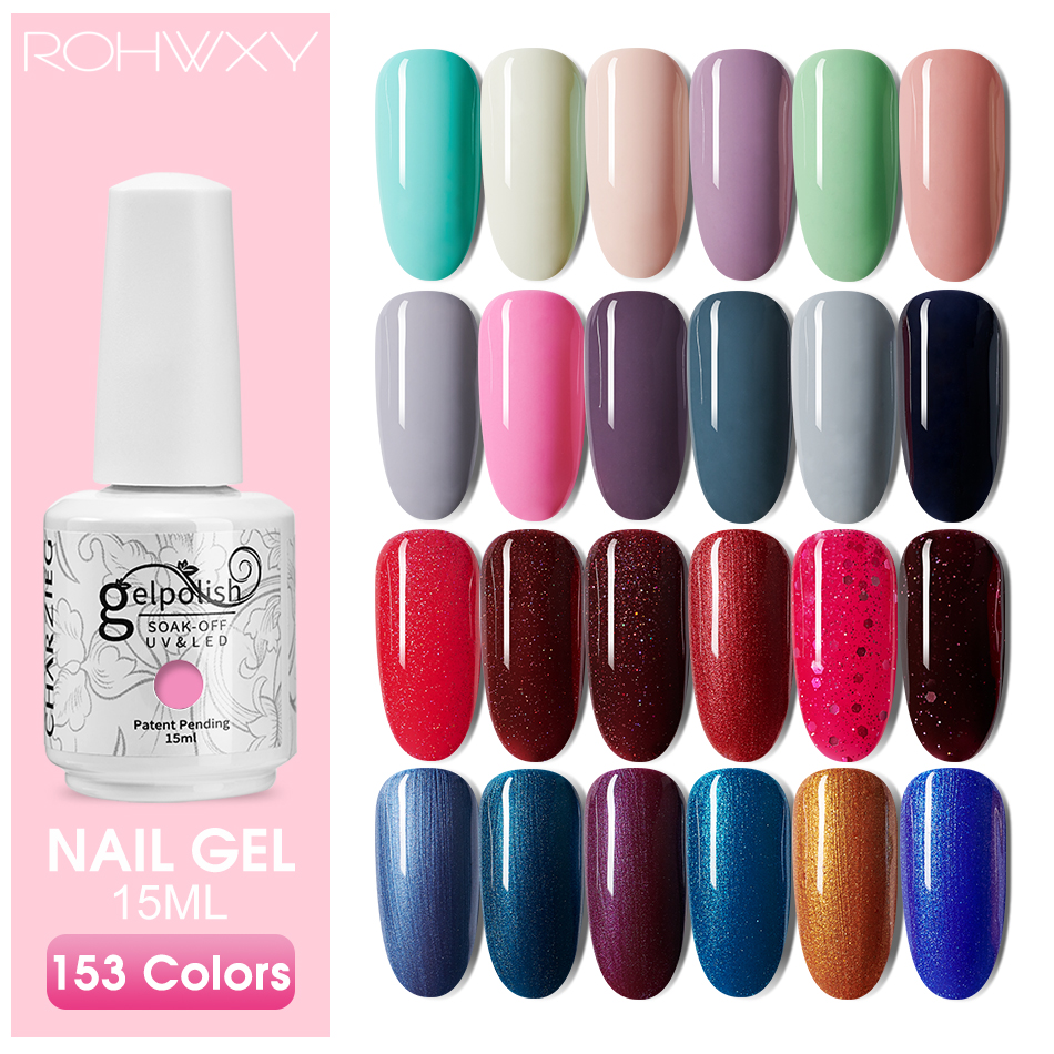ROHWXY 15ML Nail Gel Polish UV Hybrid Gel Nail Varnish 153 Hot Sale Colors Gel Lacquer Soak Off Hybrid Painting For Home Use DIY