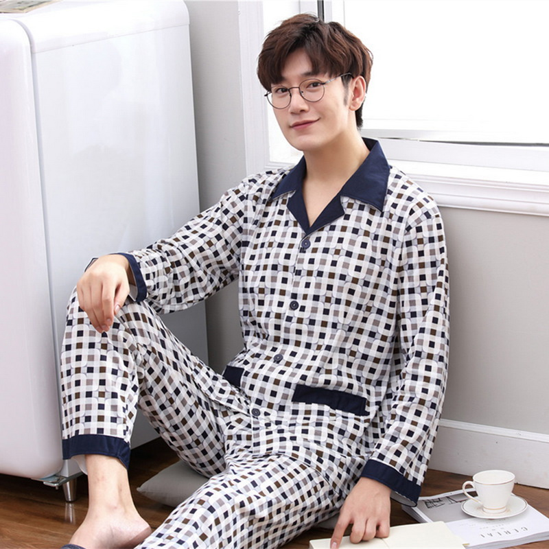Sleepwear Pyjama-Set Nightwear Two-Piece Cotton Plaid Male XXXL Spring Collar Men title=