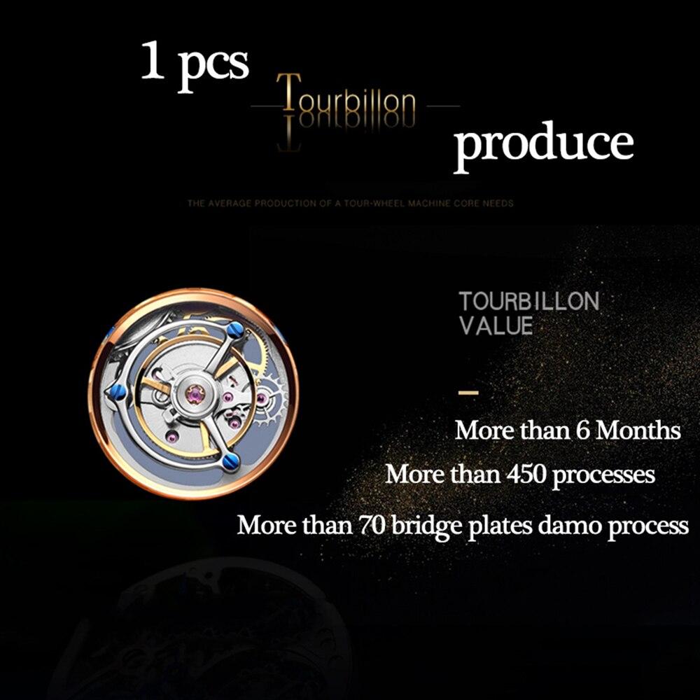 tourbillon relógio topo marca de luxo mão