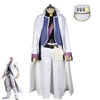 Anime JoJo's Bizarre Adventure Kujo Jotaro Cosplay Costume JOJO Fancy White Suit Adult Halloween Carnival Uniforms Custom Made