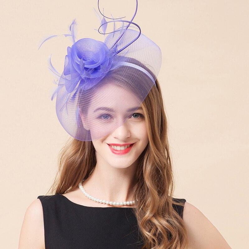 Mingli Tengda Lavender Purple Bride Hats Fascinators Woman Banquet Hair Decorate Head Hoop Wedding Bridal Accessories Birdcage