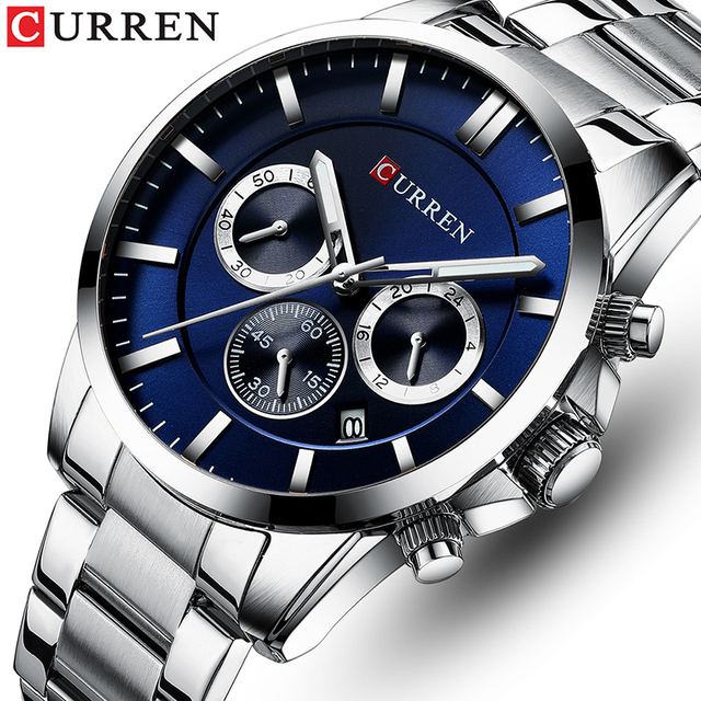 New Watches Men Top Brand CURREN  Luxury Quartz Watch Mens Casual Military Wristwatch Stainless Steel Clock with Chronograph