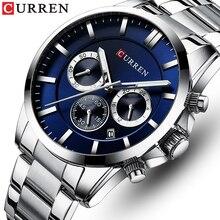 Yeni saatler erkekler üst marka CURREN lüks Quartz saat erkek Casual askeri kol saati paslanmaz çelik saat Chronograph ile