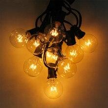 25Ft G40 הנורה עמיד למים מחרוזת אורות עם 25 ברור הנורה בחצר האחורית פטיו אורות בציר נורות דקורטיבי חיצוני זר חתונה