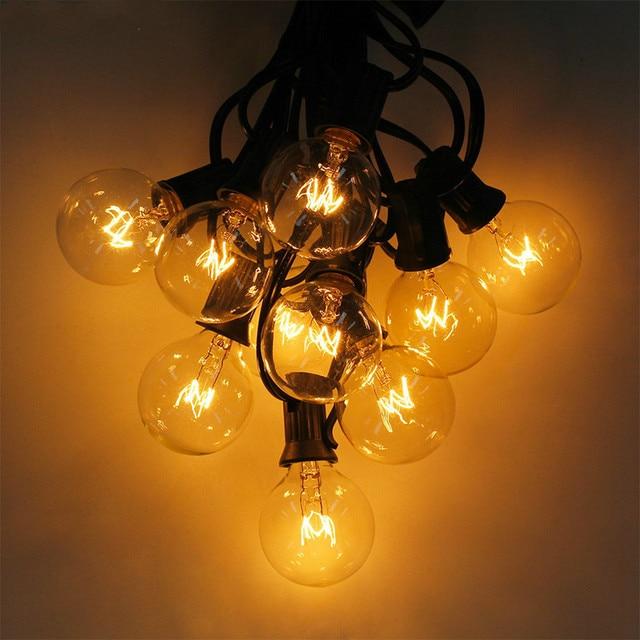 25Ft G40 Bulb Waterproof String Lights with 25 Clear Bulb Backyard Patio Lights Vintage Bulbs Decorative Outdoor Garland Wedding
