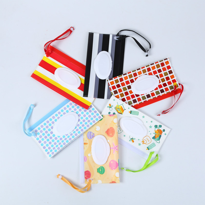 1Pcs Baby Wipes Carrying Case Portable Clean Wet Wipes Bag EVA Flip Cover Wipes Bag With Easy-Carry Snap-Strap For Stroller