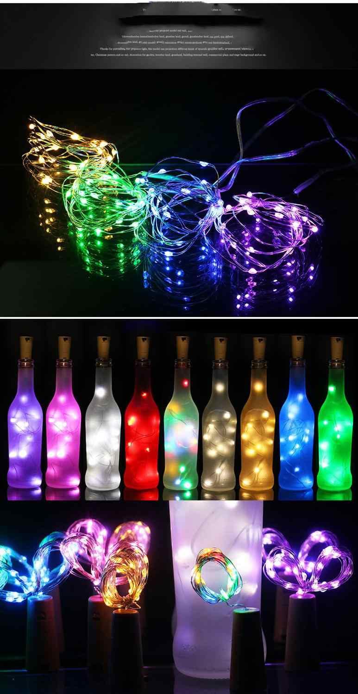 Corcho de botella de vino con batería Luz 1m / 2m DIY LED cadena luz barra de luz fiesta de cumpleaños Luz de tapón de botella de vino tira