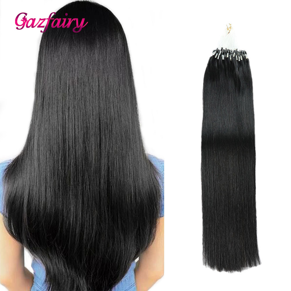 Gazfairy Loop Micro Ring Hair Extensions 16''-24'' 50g Silky Straight Human Micro Bead Links Real Remy Hair Italian Keratin