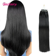 Gazfairy Loop Micro Ring Hair Extensions 16''-24'' 50g Silky Straight Human Bead Links Real Remy Italian Keratin
