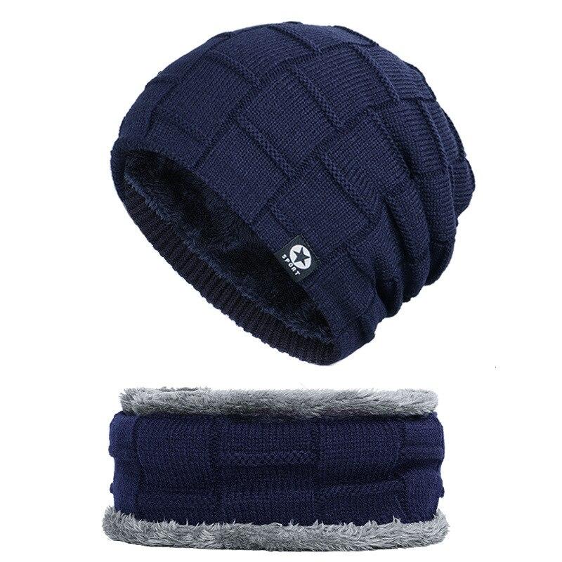 Image 2 - Winter Men Woman Hat Scarf Suit Knit Warm Beanie Hat For Men Skullies Beanies Thickening Plus Velvet Scarf Suit Unisex 2Pcs-in Men's Skullies & Beanies from Apparel Accessories