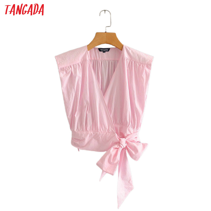 Tangada Women Solid Pink Pleated Cotton Shirts Bow Tie V-neck Female Casual Summer Tops Blouses 2L20