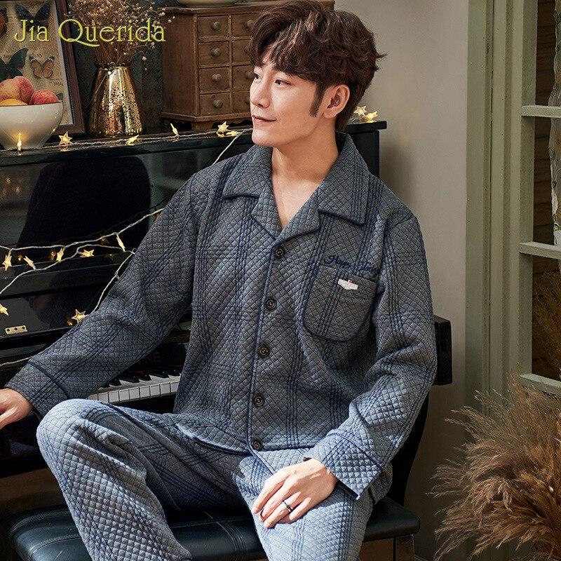 Fashion Winter Sleepwear Men's New Long Sleeve 100% Cotton Three-Layer Leisure Homewear Men's Sleepwear Embossing Mens Pajamas