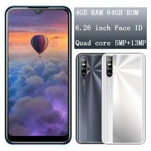 4gb ram 64gb rom 10i rosto id telefones celulares android 6.26 polegada gota de água tela desbloqueado 13mp hd câmera mtk smartphones android