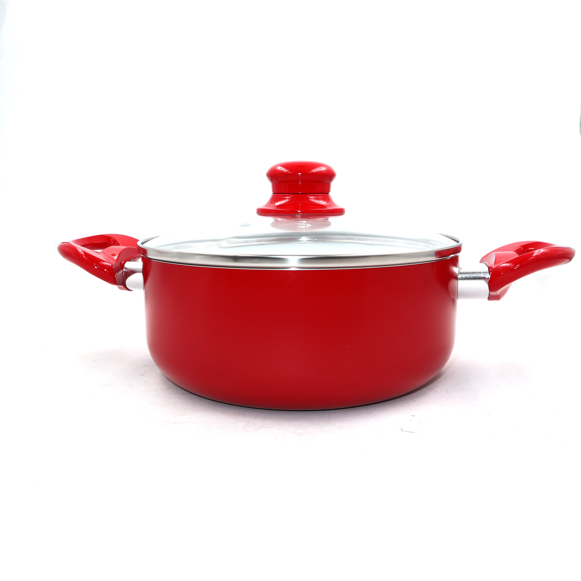 7PCS Non-stick Ceramic Coated RED Saucepans Cookware Set Frying Pan Glass Lid