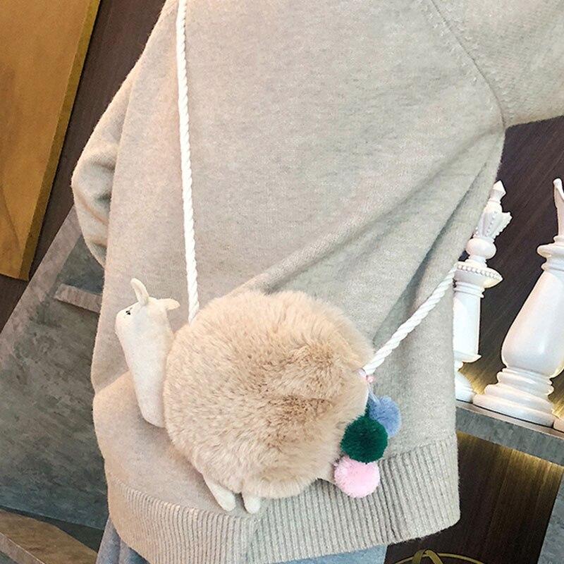 New Arrival Women Fashion Bag Casual Cute Personalized All-match Velvet Snail Shape Single Shoulder Messenger Bag