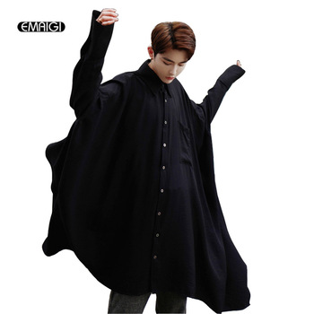 Autumn New Men Oversize Ultra-loose Long Sleeve Shirts Male Solid Color Male Fashion Casual Punk Gothic Style Shirt Black White