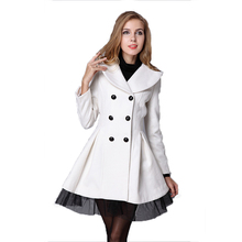Winter Coat Women Trench Double-breasted Woolen  Abrigos Mujer Invierno 2019 Elegante Wool Femme