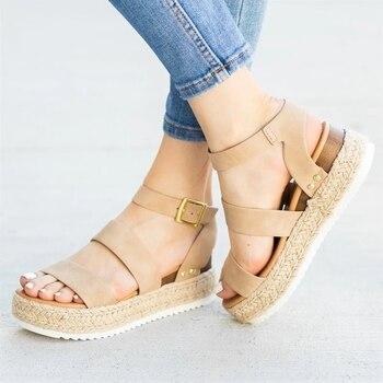 2020 Women's Solid Color Versatile Sandals Summer Breathable Fashion Casual Shoes Gladiator Roman Platform Shoes Travel Shoes